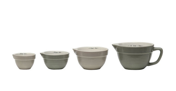 Neutral Stoneware Batter Bowl Shaped Measuring Cups* - Out of the Woodwork Designs