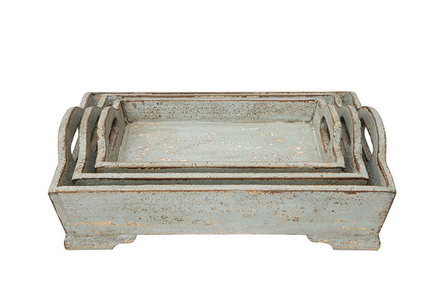 Aqua Wood Tray- medium - Out of the Woodwork Designs