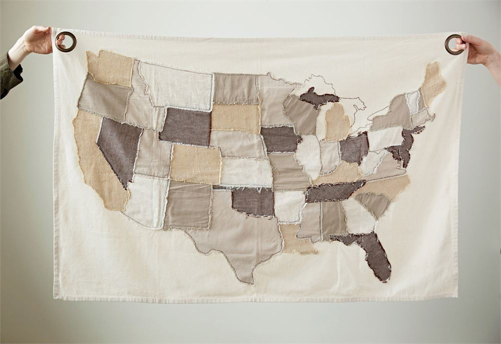 Cotton stitched map - Out of the Woodwork Designs