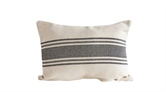 Cotton Canvas Pillow with Black Stripes - Out of the Woodwork Designs