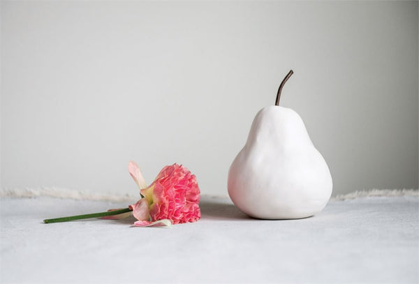 Matte White Stoneware Pear - Out of the Woodwork Designs