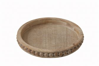 Round Wood Beaded Tray - Out of the Woodwork Designs