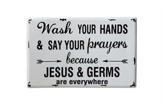 Metal Wall Decor - Jesus and Germs are Everywhere - Out of the Woodwork Designs
