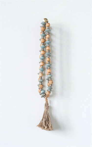 Abaca Wood Bead Strand with Tassel - Out of the Woodwork Designs
