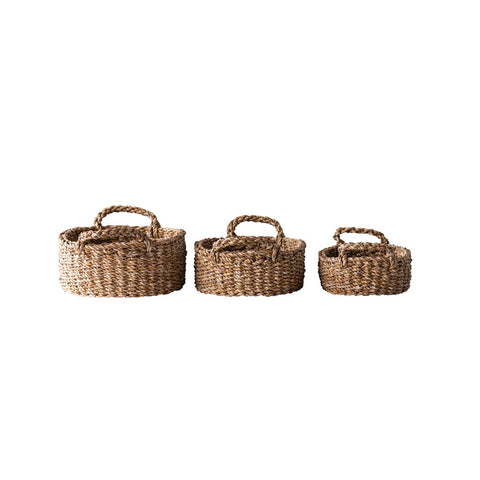 Set of 3 Oval Natural Woven Sea Grass Baskets with Handles - Out of the Woodwork Designs