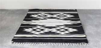 Black & Cream Hand Woven Wool Blend Rug - Out of the Woodwork Designs
