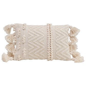 Textured Lumbar Pillow with Pom Poms and Tassels