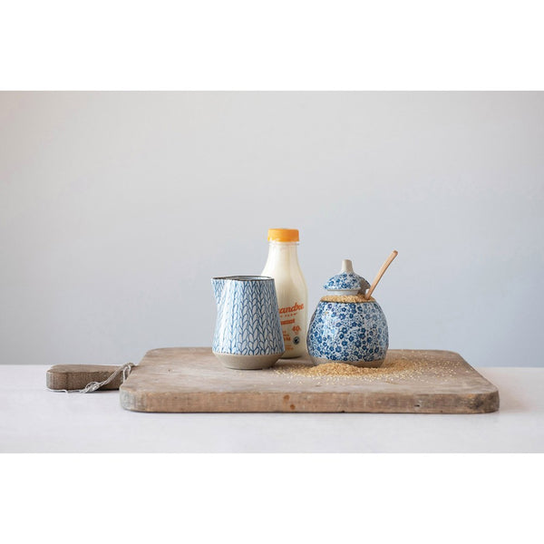 Blue Patterned Cream & Sugar Set