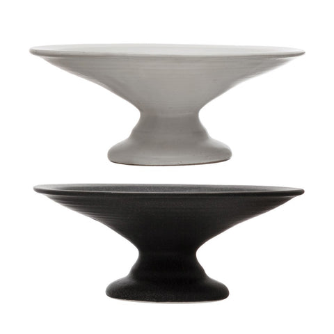 Stoneware Pedestal Cake Plate 2 Colors