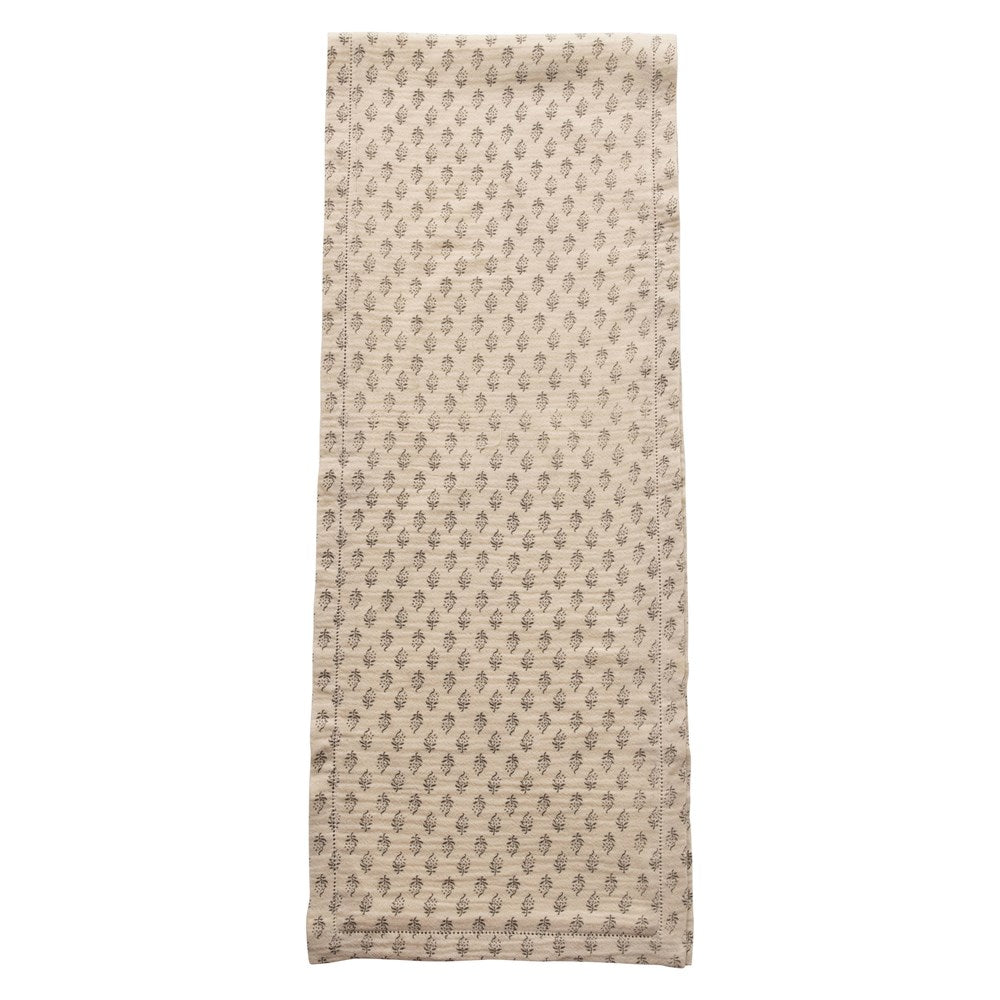 Cotton Table Runner w/ Printed Floral Pattern, Grey & Cream