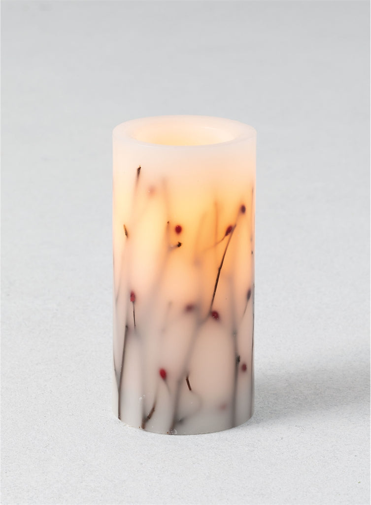 Twigs and Berries Pillar Candle 3x6