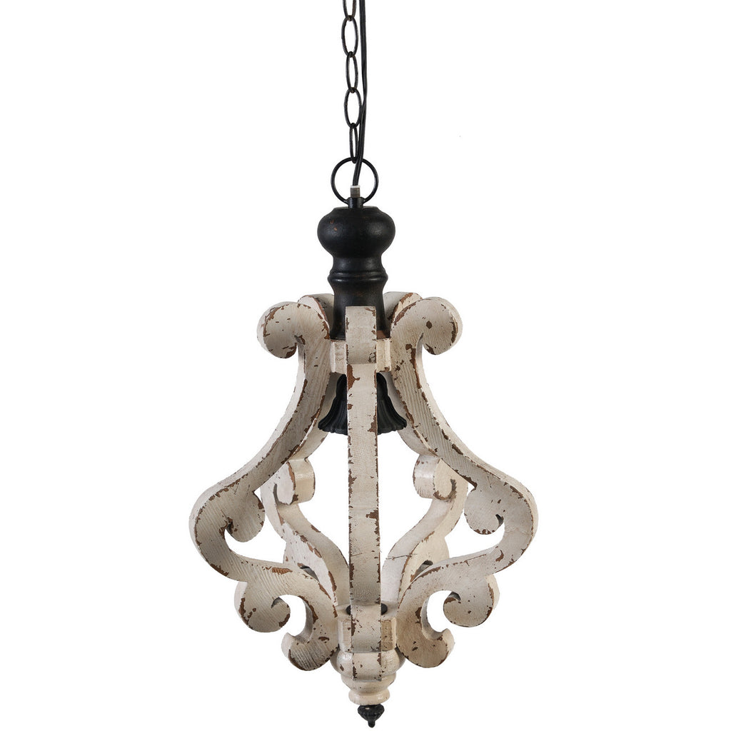 Ivory Scroll Distressed Pendant Light - Out of the Woodwork Designs