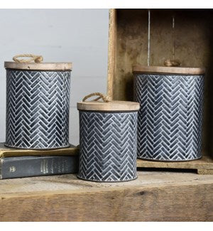 Tin Herringbone Canisters- 3 sizes