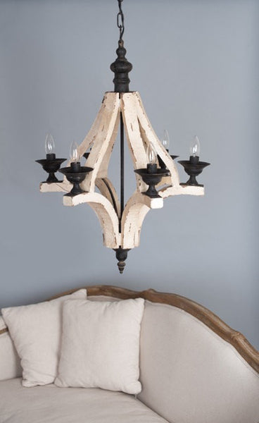 Distressed 6 Light Wood Chandelier - Out of the Woodwork Designs
