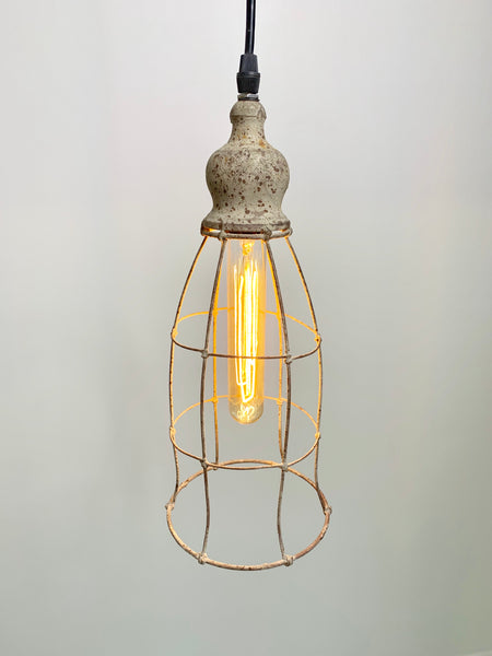 Rustic Wire Lantern Pendant Light - Out of the Woodwork Designs