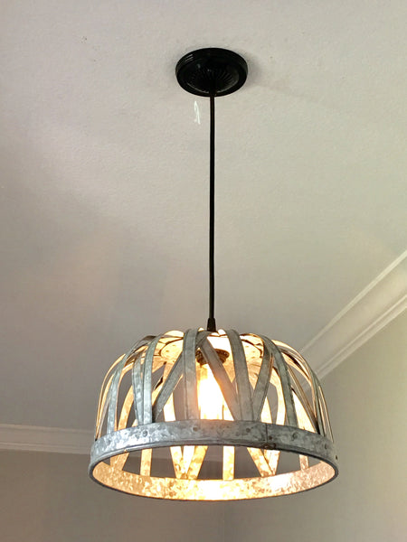 Galvanized Strap Basket Pendant Light - Out of the Woodwork Designs