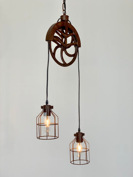 Double Pulley Pendant Light - Out of the Woodwork Designs