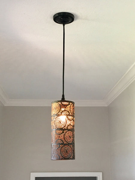 Punched Metal Pendant Light - Out of the Woodwork Designs