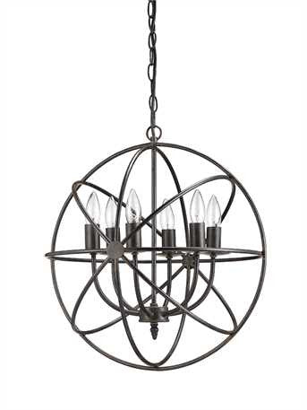 Orb 6 Light Chandelier- Ceiling Light - Out of the Woodwork Designs