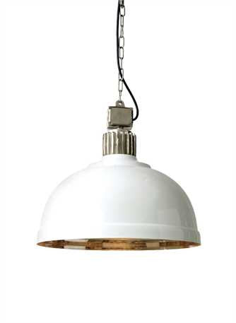 Nickel and White Dome Pendant Light - Out of the Woodwork Designs