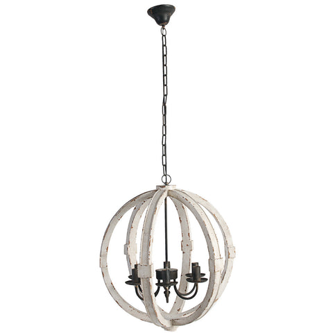Ivory Distressed Wood Orb Chandelier - Out of the Woodwork Designs