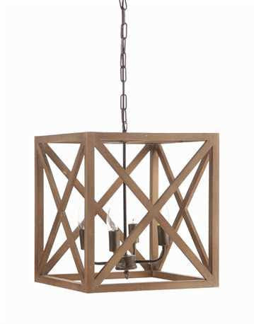 Square X Frame Wood And Metal Chandelier