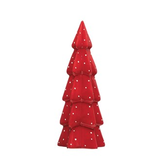 Stoneware Red Tree With Dots