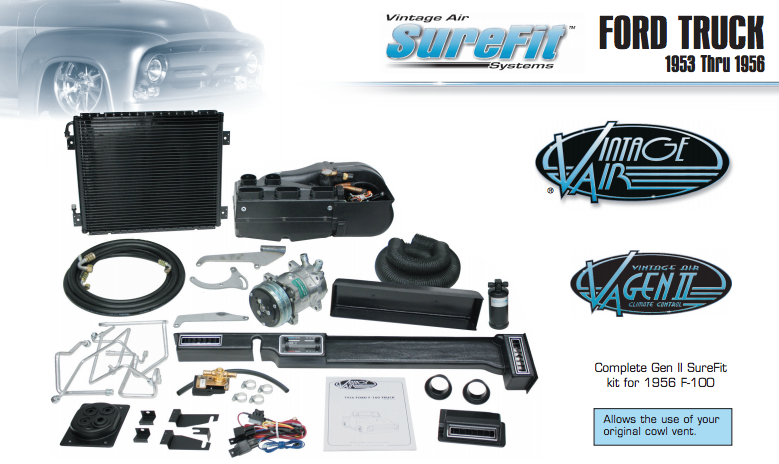 1953-55 Ford F-100 Complete A/C Sure-Fit Kit w/134a