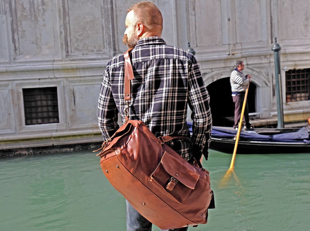 Handmade in Italy Brown leather duffel bag. We only use the finest Italian leather and craftsmanship.