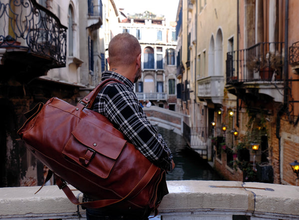 Hand Made in Italy brown leather duffel bag by Satch&Fable