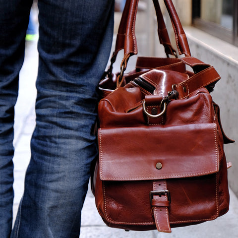 handmade brown leather duffel bag by Satch&Fable