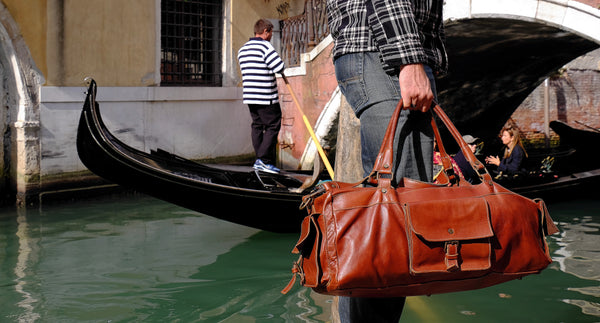 handmade ethically in Italy leather duffel bag brown