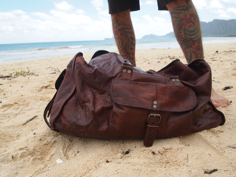 Handmade carry-on leather duffel bag by Satch&Fable