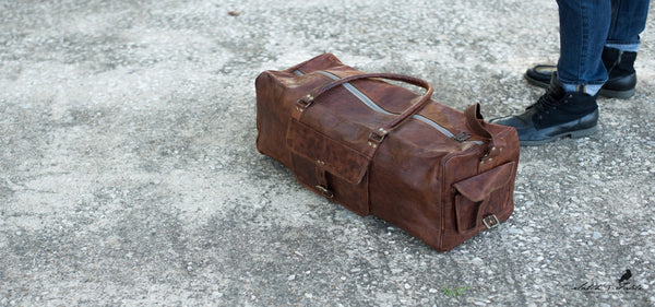 Handmade Moroccan Duffel leather duffel bag