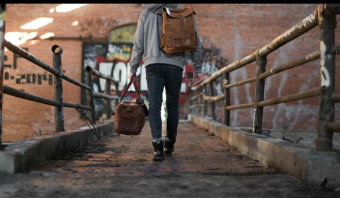 Leather Laptop backpack Duffel