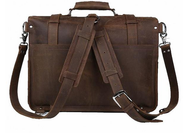 handmade crazy horse leather laptop bag