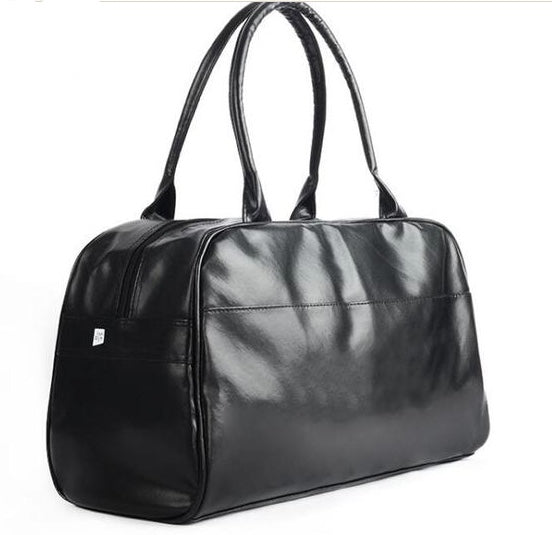 Handmade Vegan PU black leather duffel bag carry on Satch&Fable