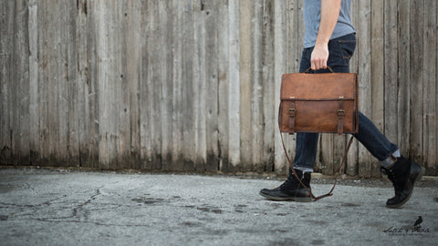 Handmade leather messenger bags