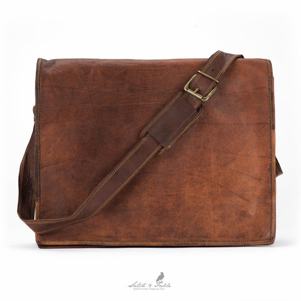 Handmade Moroccan Leather Flap Laptop Bag
