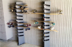 Examples of a locking skateboard rack.