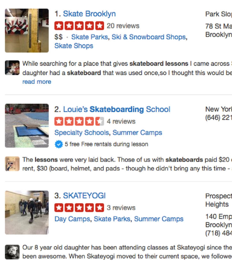 Searching for a skateboard teacher on Yelp