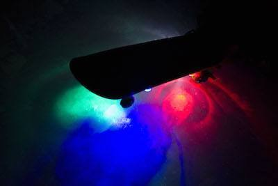 Multi-color LED skakeboard lights