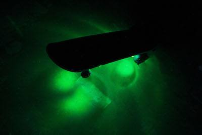 Green LED skakeboard lights