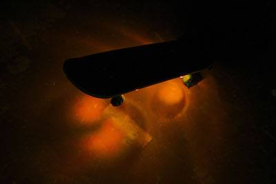 Orange LED skakeboard lights