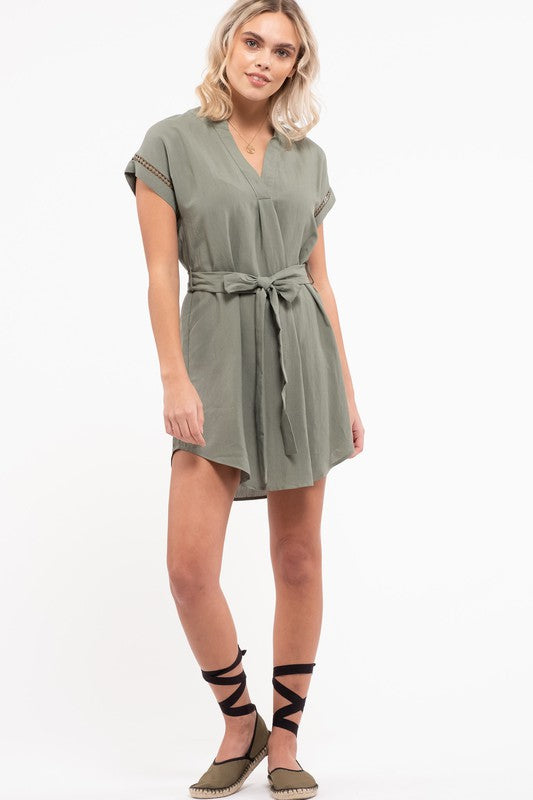 Belted Mini Dress (Dusty Apricot)