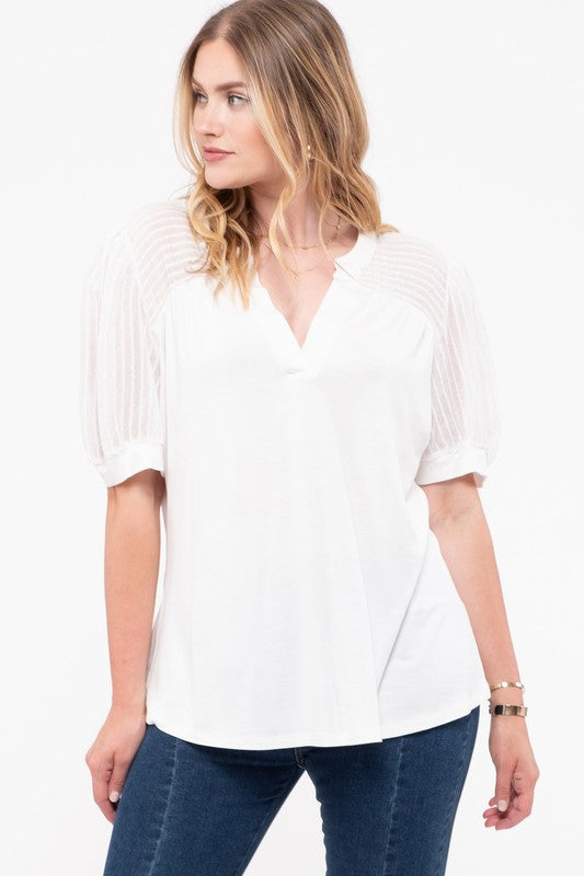 Short Puff Sleeve Knit Top - Plus Size - 2 Colors Available