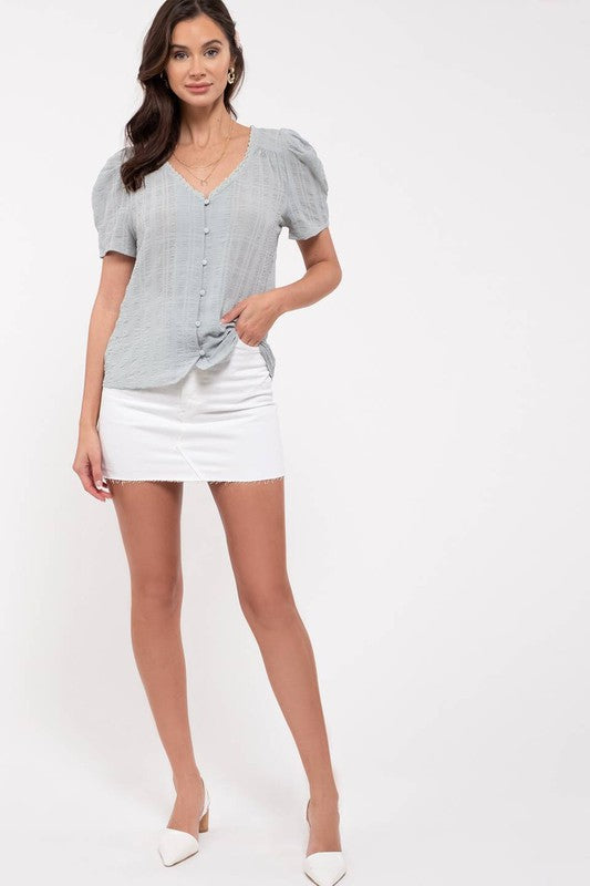 Vicky V-neck Puff Sleeve Top - 2 Colors Available