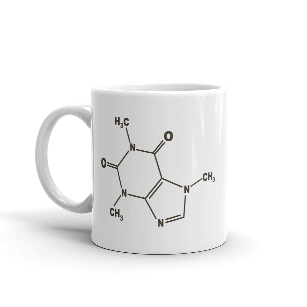 caffeine molecule coffee or tea cup
