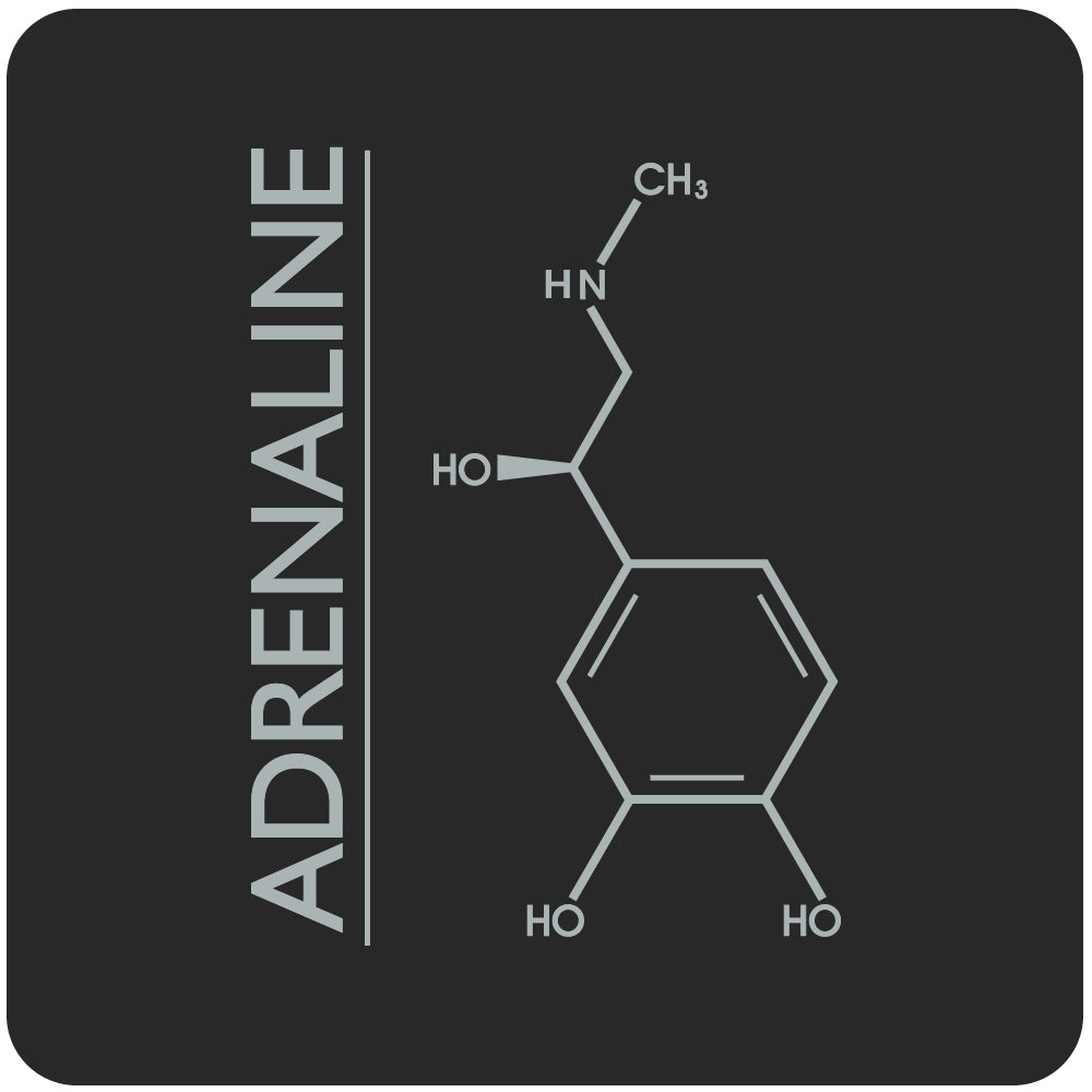 adrenaline molecule close-up, black