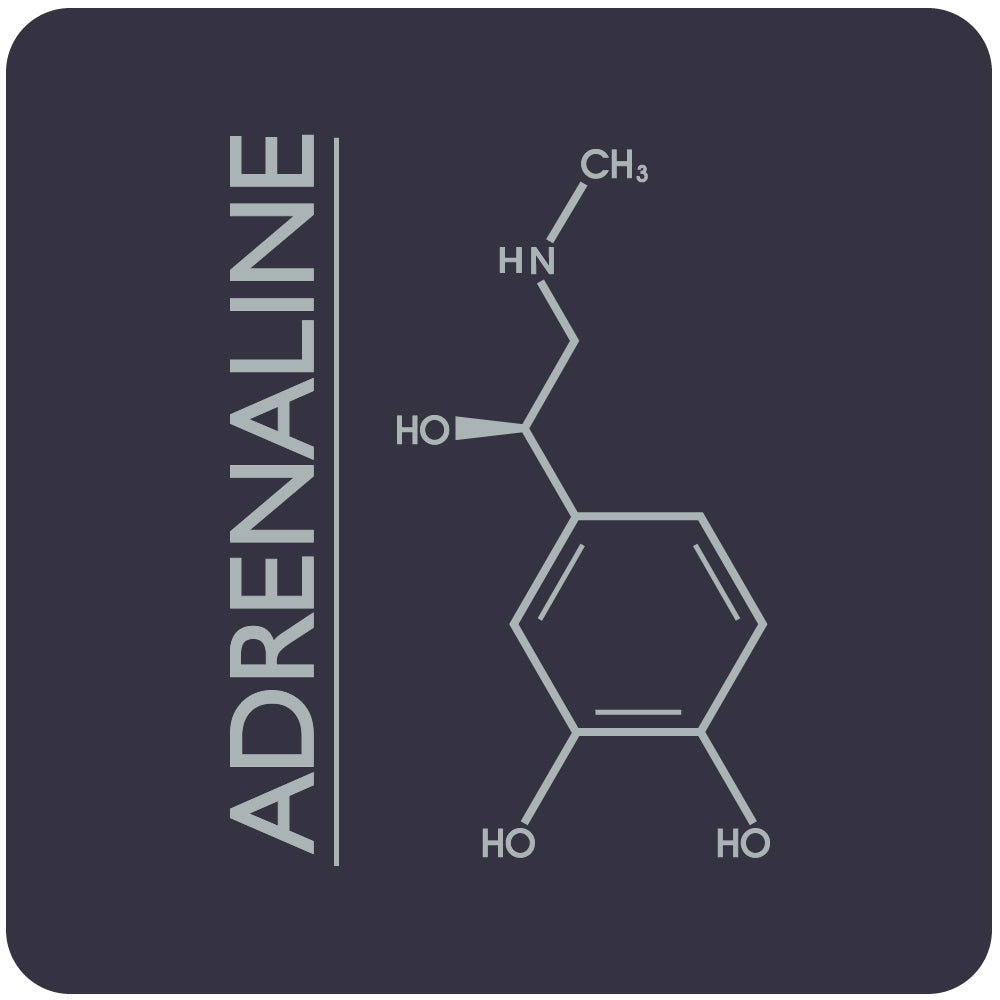 adrenaline molecule close-up, navy
